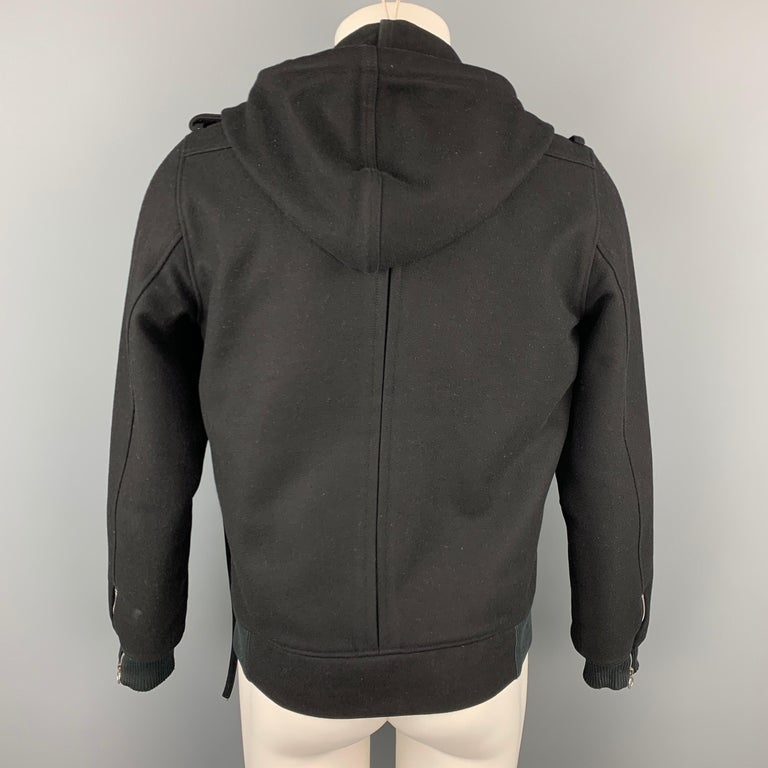 Men's KRIS VAN ASSCHE Size 38 Black Wool Blend Hooded Jacket For Sale