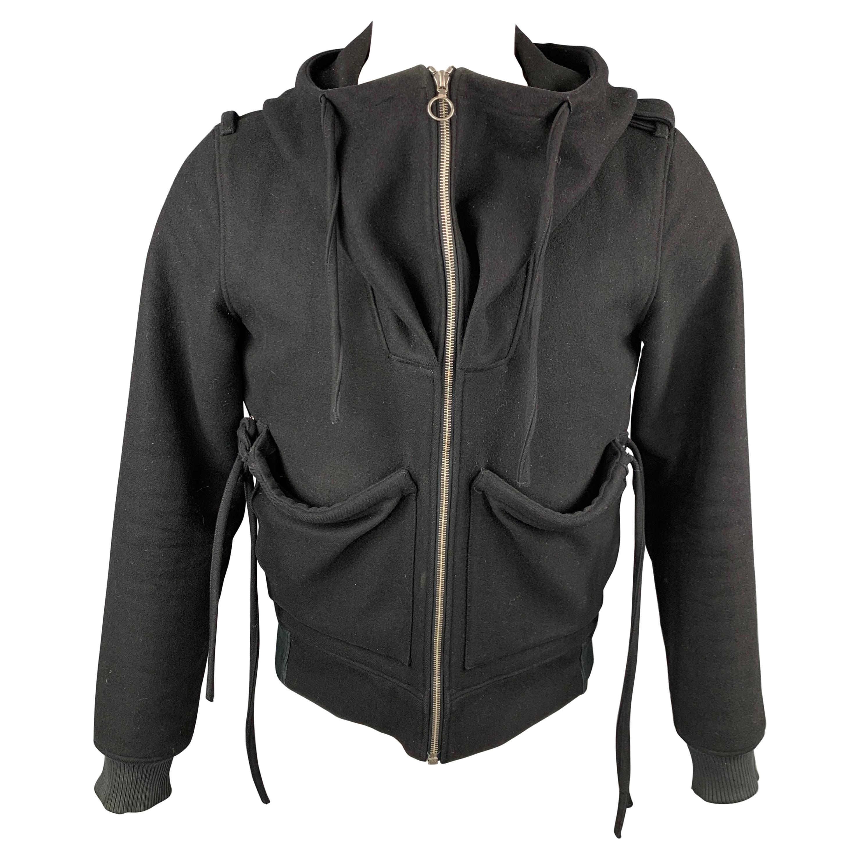 KRIS VAN ASSCHE Size 38 Black Wool Blend Hooded Jacket