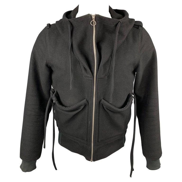 KRIS VAN ASSCHE Size 38 Black Wool Blend Hooded Jacket For Sale