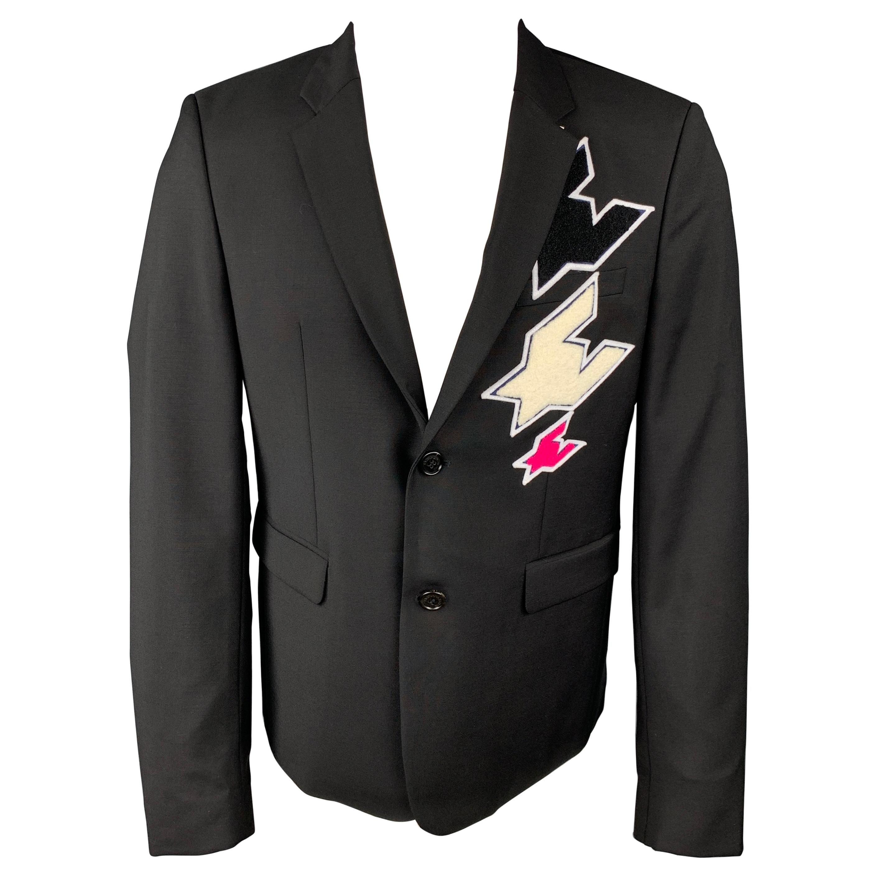 KRIS VAN ASSCHE Size 40 Black Patches Wool Notch Lapel Sport Coat