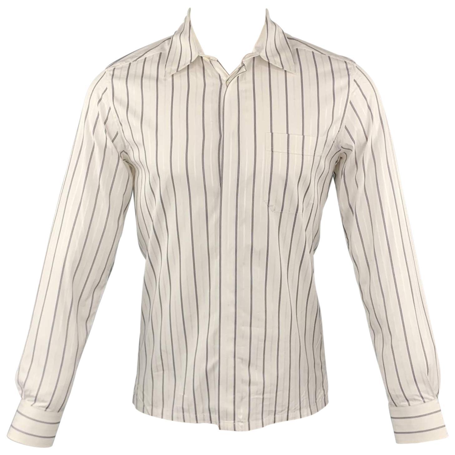 KRIS VAN ASSCHE Size XS White & Navy Stripe Cotton Long Sleeve Shirt