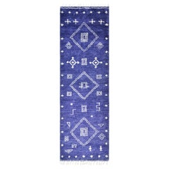 Krish, Bohemian Moroccan Hand Knotted Area Rug, Violet