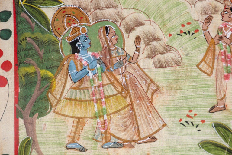 Krishna, Radha, and the Gopis Meet a Young Prince Miniature Painting For Sale 2