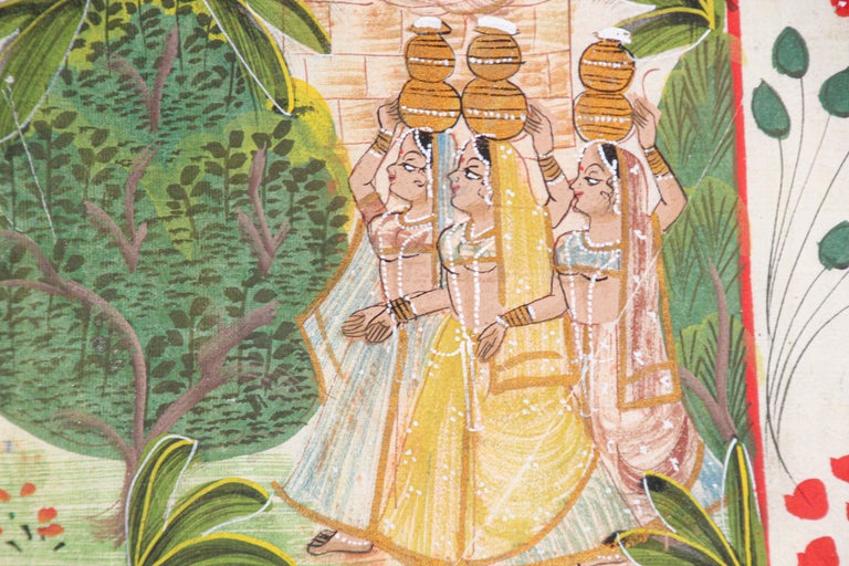 Krishna, Radha, and the Gopis Meet a Young Prince Miniature Painting For Sale 3