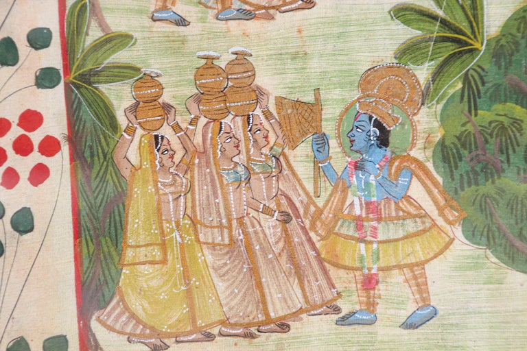 Krishna, Radha, and the Gopis Meet a Young Prince Miniature Painting For Sale 4