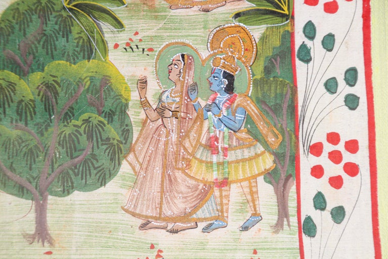 Krishna, Radha, and the Gopis Meet a Young Prince Miniature Painting For Sale 5