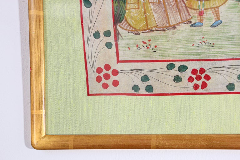Krishna, Radha, and the Gopis Meet a Young Prince Miniature Painting For Sale 6