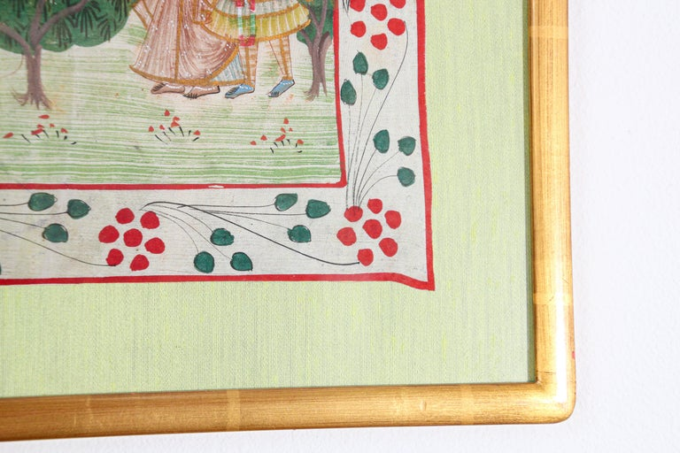 Krishna, Radha, and the Gopis Meet a Young Prince Miniature Painting For Sale 7
