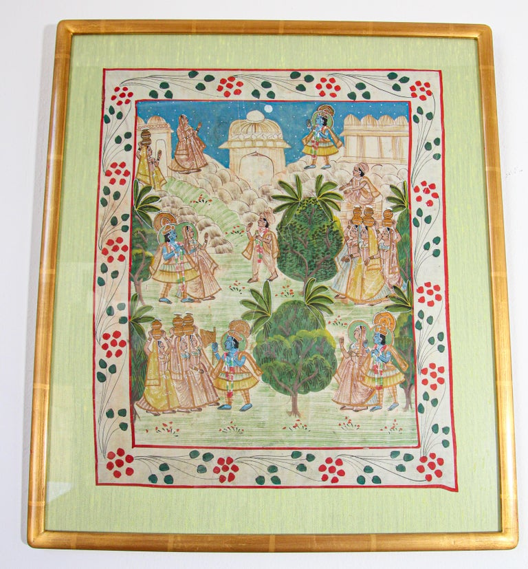 Krishna, Radha, and the Gopis Meet a Young Prince Miniature Painting For Sale 8