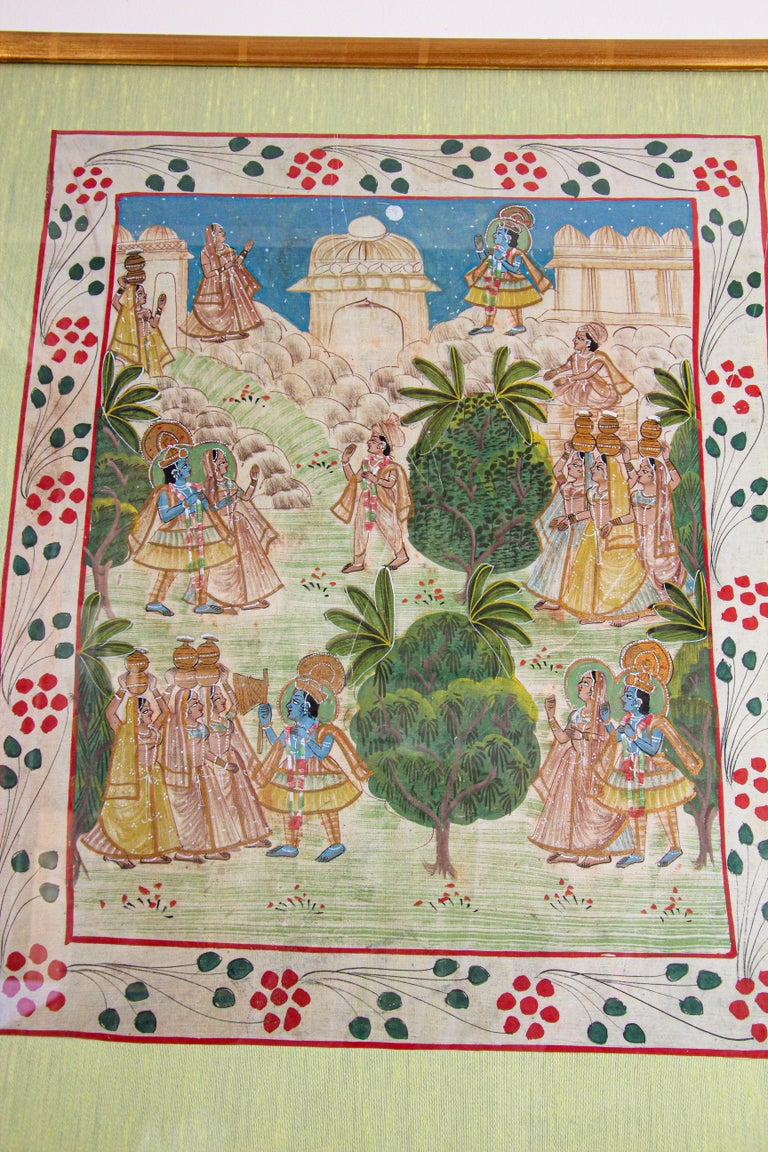 Krishna, Radha, and the Gopis Meet a Young Prince Miniature Painting For Sale 9