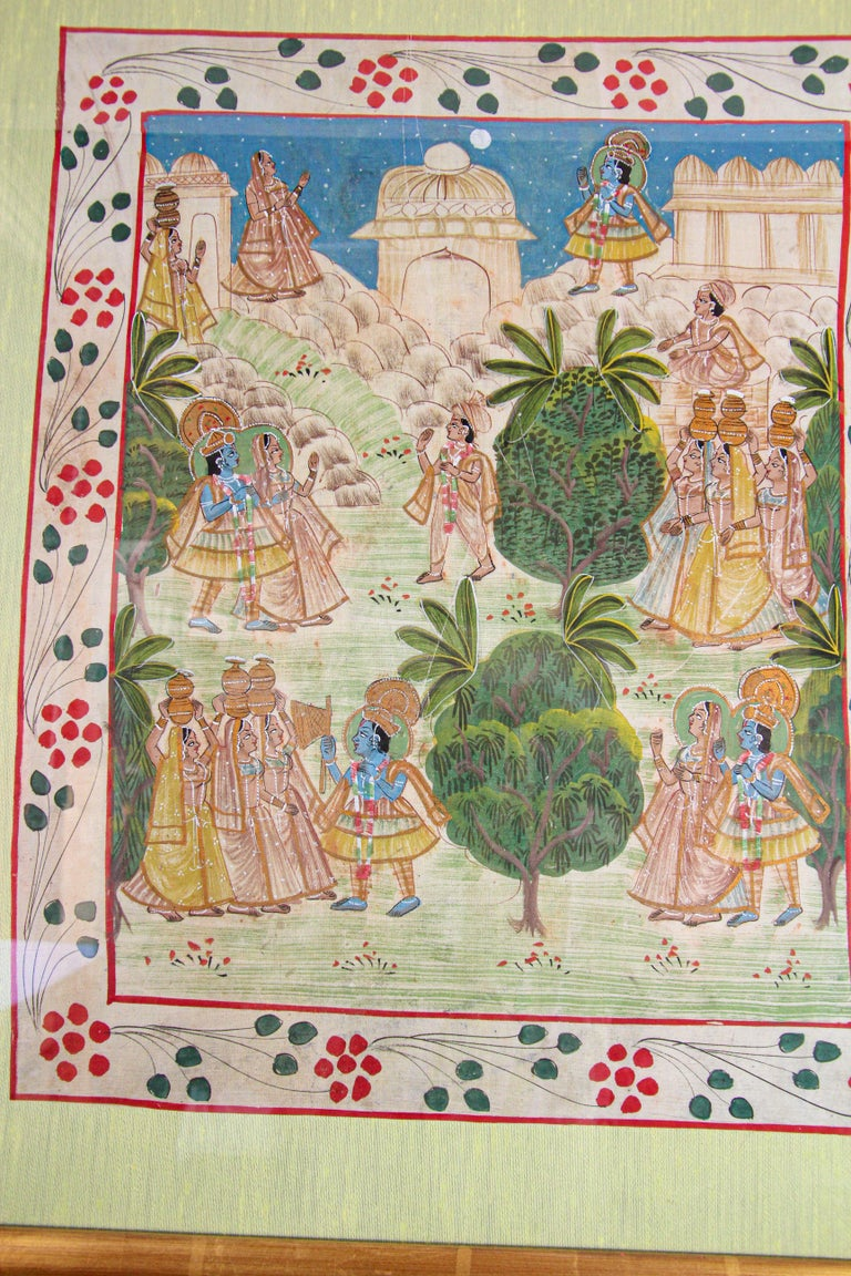 Krishna, Radha, and the Gopis Meet a Young Prince Miniature Painting For Sale 10