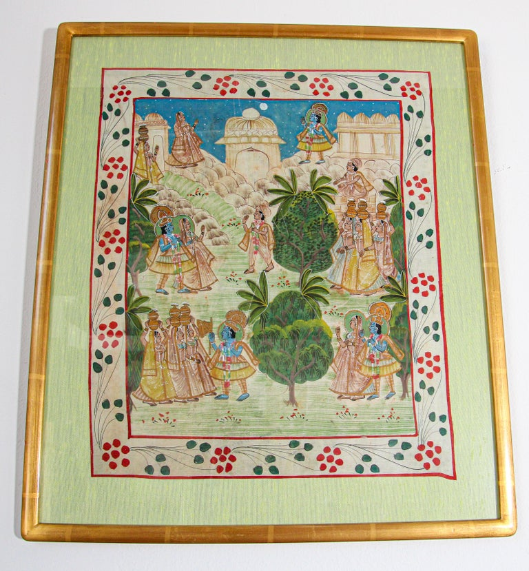 Krishna, Radha, and the Gopis meet a young prince miniature painting Pichhavai painting depicting Krishna, Radha, and the Gopis meeting a young prince. Krishna with female Gopis carrying offering for the prince, great washed out colors. Stylized