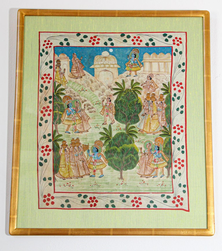 Krishna, Radha, and the Gopis Meet a Young Prince Miniature Painting For Sale 12