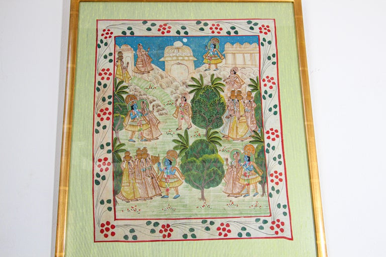 Agra Krishna, Radha, and the Gopis Meet a Young Prince Miniature Painting For Sale