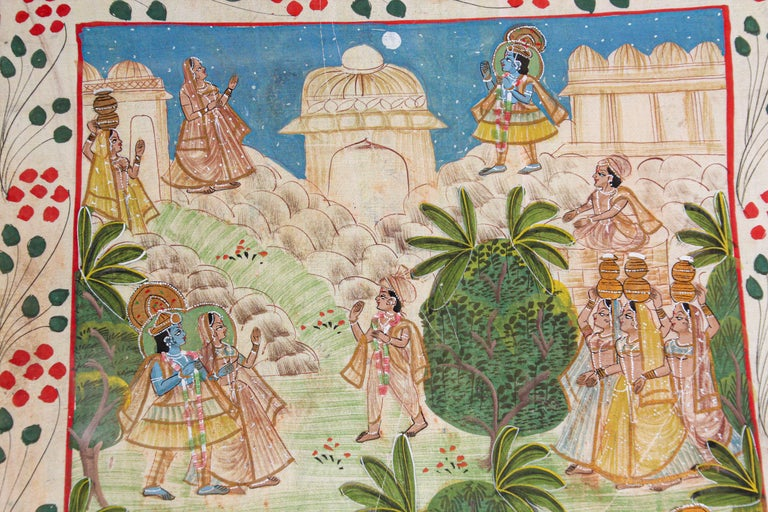 Indian Krishna, Radha, and the Gopis Meet a Young Prince Miniature Painting For Sale