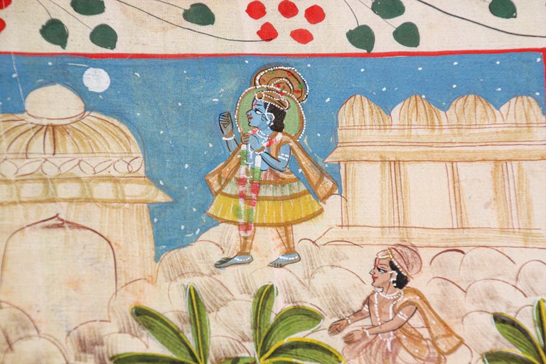Hand-Painted Krishna, Radha, and the Gopis Meet a Young Prince Miniature Painting For Sale