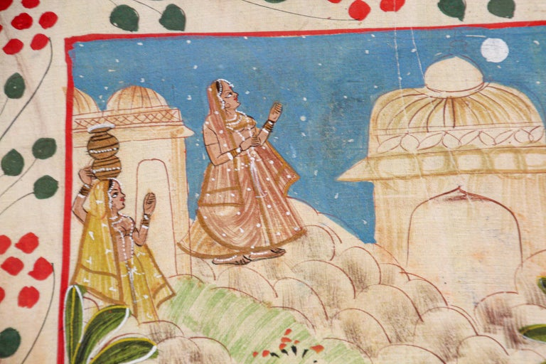 Krishna, Radha, and the Gopis Meet a Young Prince Miniature Painting In Good Condition For Sale In North Hollywood, CA