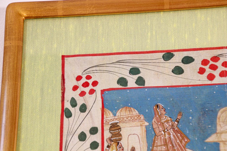 20th Century Krishna, Radha, and the Gopis Meet a Young Prince Miniature Painting For Sale