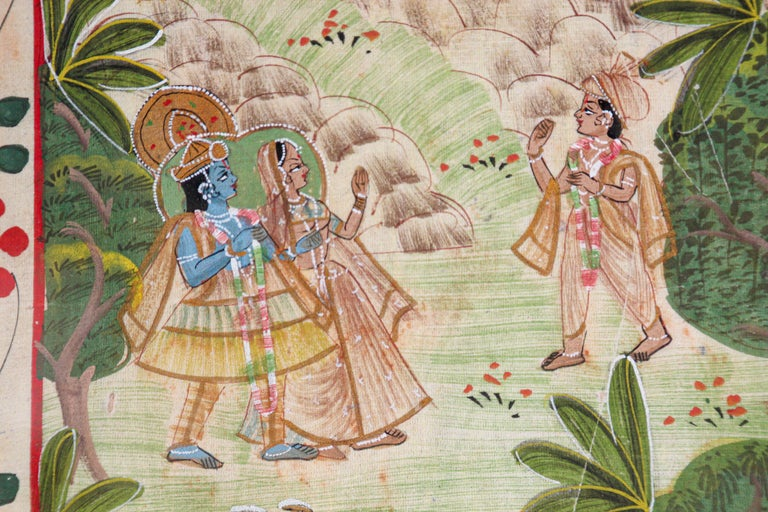 Paper Krishna, Radha, and the Gopis Meet a Young Prince Miniature Painting For Sale