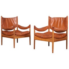 Krisitan S. Vedel Pair of Lounge Chairs Modus, Oak and Leather, Denmark, 1960s