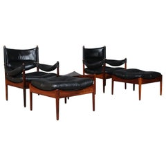 Krisitan S. Vedel Pair of Lounge Suite, Leather Rosewood