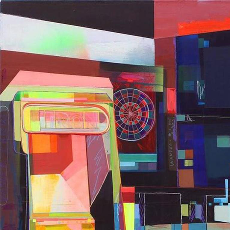 Tron is a large-scale original abstract painting by multimedia artist Kristen Schiele. Combining acrylic and oil paint in rich deep hues with silk screen on canvas, Schiele achieves a contemporary collage feel with bursts of colorful energy. Inquire
