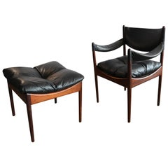 "Kristian Solmer Vedel Armchair and Ottoman ""Modus"" by Soren Willadsen, 1960s"