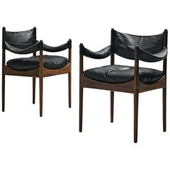 Kristian Solmer Vedel Black Leather Lounge Chairs