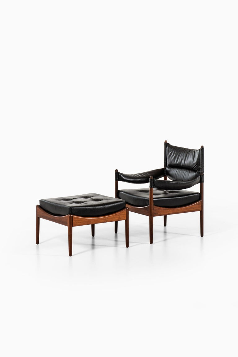 Scandinavian Modern Kristian Solmer Vedel Easy Chairs with Stools by Søren Willadsen Møbelfabrik For Sale