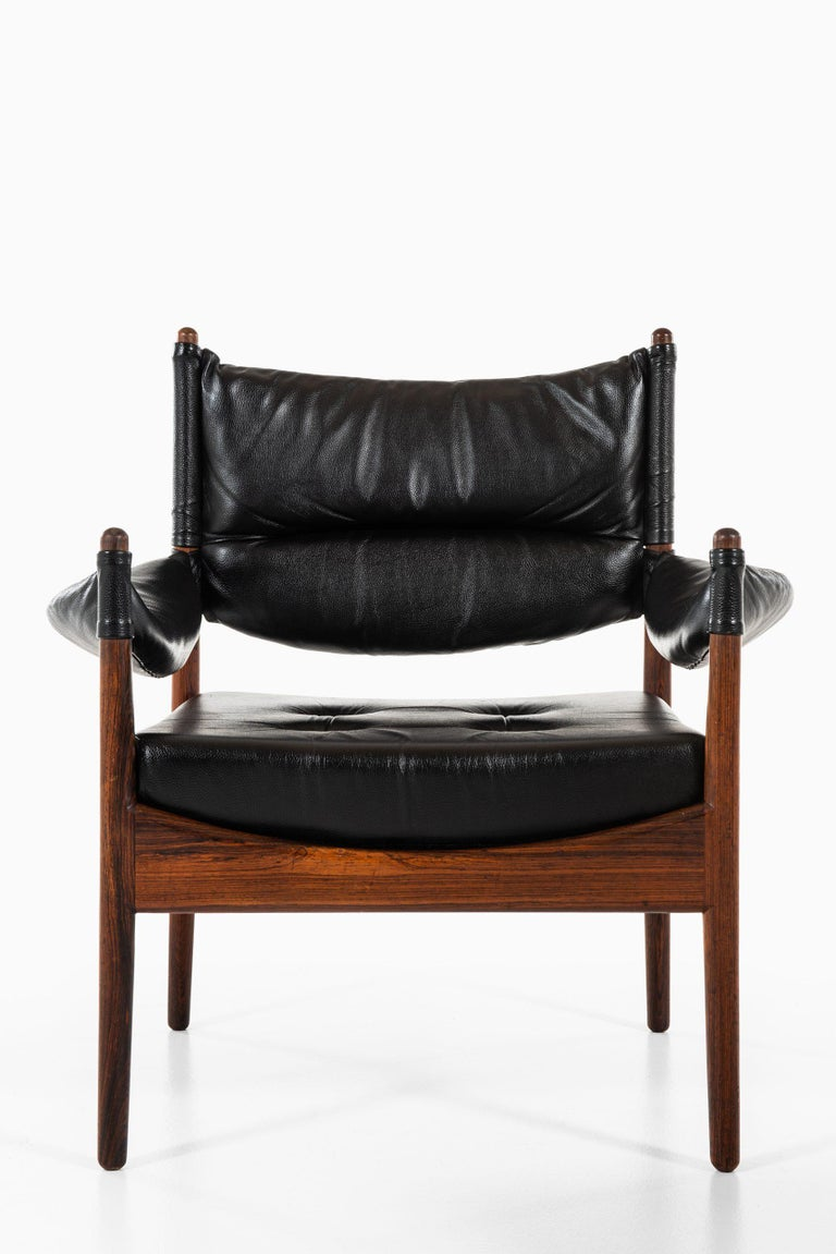 Leather Kristian Solmer Vedel Easy Chairs with Stools by Søren Willadsen Møbelfabrik For Sale