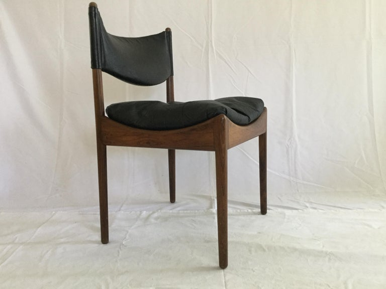 Danish 6 Kristian Solmer Vedel Rosewood and Leather Dining Chairs For Sale