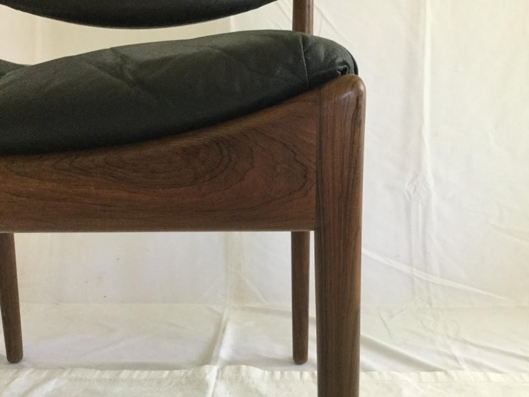 6 Kristian Solmer Vedel Rosewood and Leather Dining Chairs In Excellent Condition For Sale In Canaan, CT