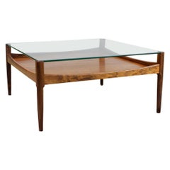Kristian Vedel Coffee Table in Rosewood and Glass for Willadsen, Denmark, 1960s