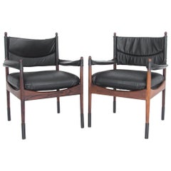 Kristian Vedel Rosewood and Leather Chairs, a Pair