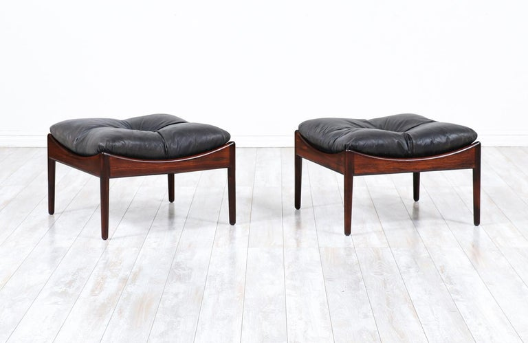 Kristian Vedel rosewood & leather stools for Søren Willadsen.