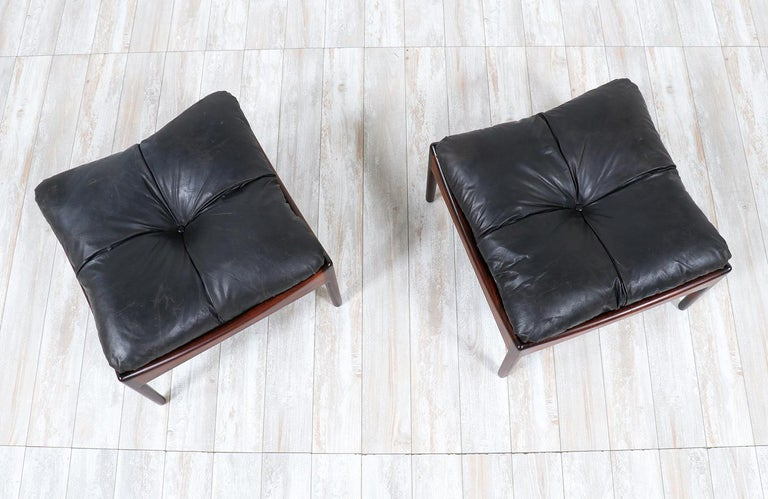 Mid-Century Modern Kristian Vedel Rosewood & Leather Stools for Søren Willadsen For Sale