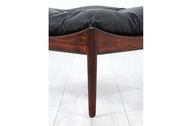 Mid-20th Century Kristian Vedel Rosewood & Leather Stools for Søren Willadsen For Sale