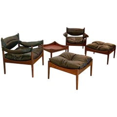 Kristian Vedel Rosewood Set Chairs Ottomans and Side Table Danish Made