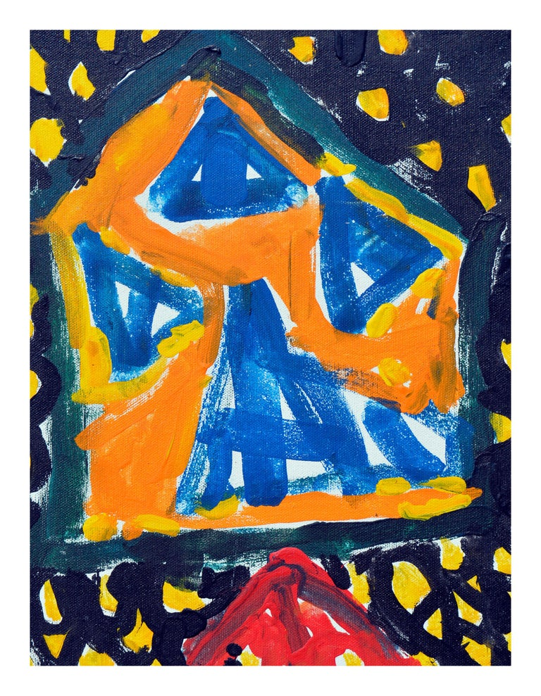 Abstract Expressionism -- Yellow Lattice  - Painting by Kristin Cohen