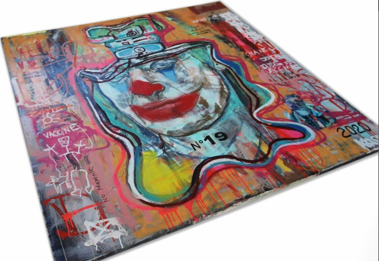 NR. 19 COVID JOKER - expressive, Joker, painting, Contemporary, Pop Art, Chanel - Brown Figurative Painting by Kristin Kossi