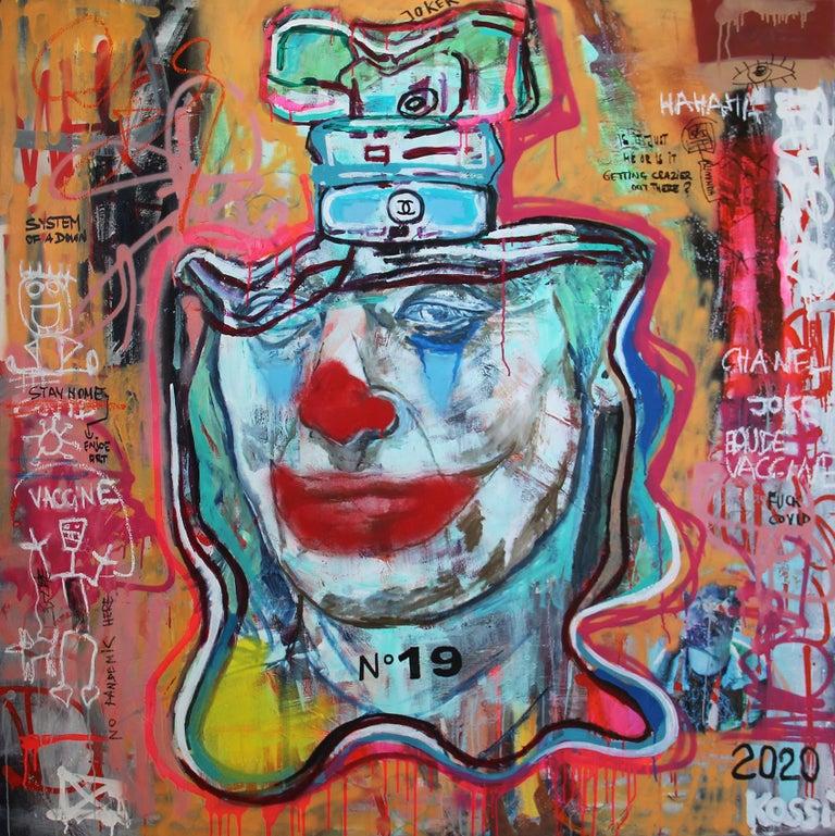 Kristin Kossi Figurative Painting - NR. 19 COVID JOKER - expressive, Joker, painting, Contemporary, Pop Art, Chanel