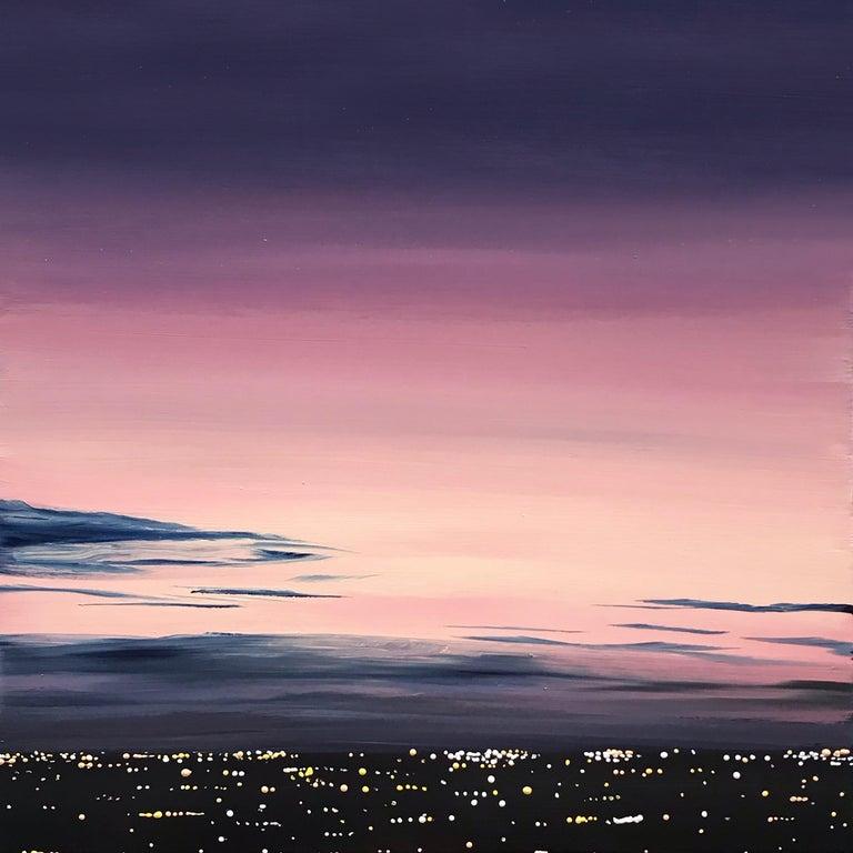 Kristin Moore Landscape Painting - LA Lights (Purple)
