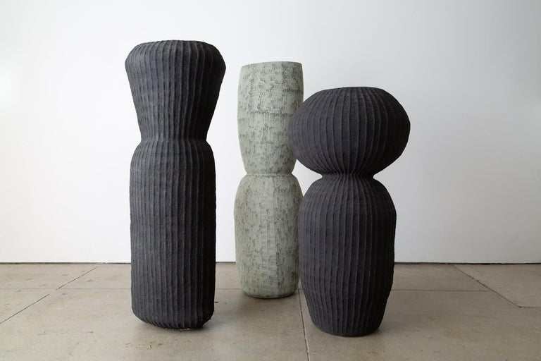 """Kristina Riska, bubble urn l, 2015. Created in the coil method with exterior textured surface. This unique piece measures 48"""" H x 22"""" W. Arabia studio, Helsinki Finland, 2015."""