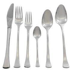 Kristine by Hans Hansen Danish Sterling Silver Flatware Set for 12 Service 75 Pc