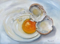 Cracked Brown Egg, Oil Painting