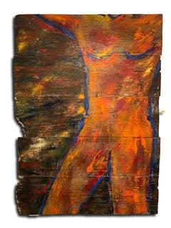 """Figure of a male nude"" Oil On Reclaimed Wood By Kristy"