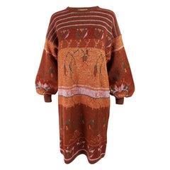 Krizia 1980s Vintage Orange Knit Balloon Sleeve Jumper Sweater Dress