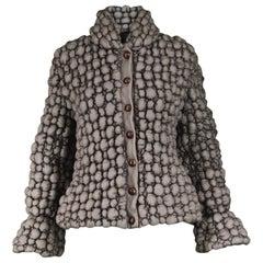 Krizia Avant Garde Bubble Textured Effect Gray Vintage Coat, 1990s