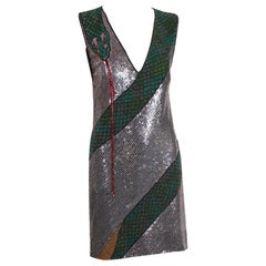 Krizia Beaded & Sequined Mini Dress w/Snake Motif