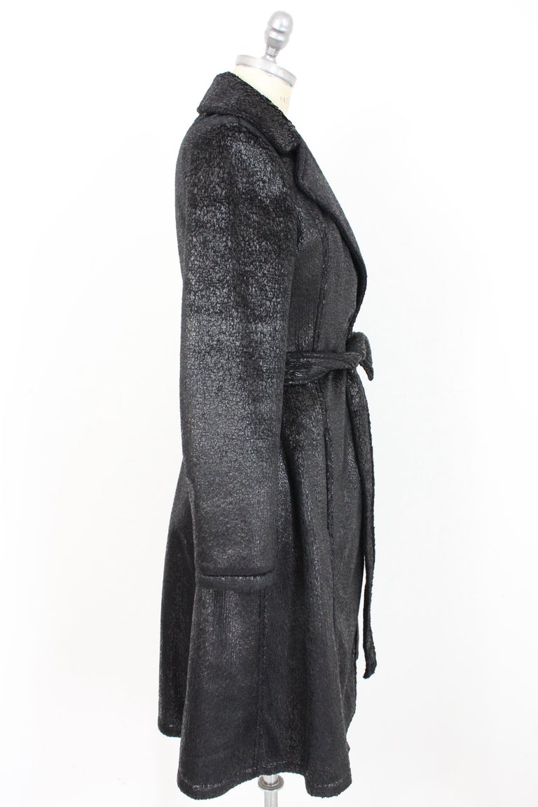 Krizia Black Laminate Long Flared Coat 1980s In Excellent Condition For Sale In Brindisi, Bt